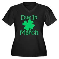 Due In March - Lucky Maternity T-Shirt (dark) Women's Plus Size V-Neck Dark T-Shirt