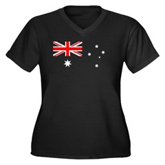 Australian Flag Women's Plus Size V-Neck Dark T-Shirt