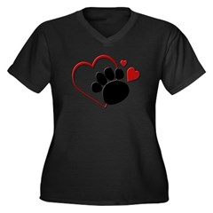 Dog Paw Print with Love Hear Women's Plus Size V-Neck Dark T-Shirt