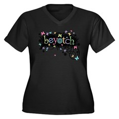 Beyotch Women's Plus Size V-Neck Dark T-Shirt