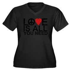 Love Is All Women's Plus Size V-Neck Dark T-Shirt