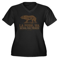 La Push Wolf Preserve Women's Plus Size V-Neck Dark T-Shirt