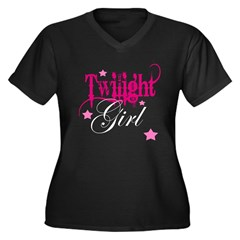 Twilight Girl Women's Plus Size V-Neck Dark T-Shirt