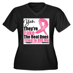 Yes They're Fake Breast Cancer Women's Plus Size V-Neck Dark T-Shirt