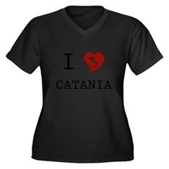 I Love Catania Women's Plus Size V-Neck Dark T-Shirt