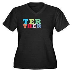 ter Women's Plus Size V-Neck Dark T-Shirt