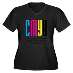 cmyk design thing Women's Plus Size V-Neck Dark T-Shirt
