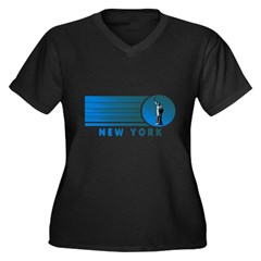New York Vintage Women's Plus Size V-Neck Dark T-Shirt