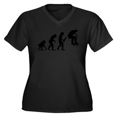 Skateboarding Women's Plus Size V-Neck Dark T-Shirt