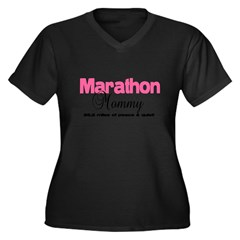 Marathon Mommy Peace Quie Women's Plus Size V-Neck Dark T-Shirt