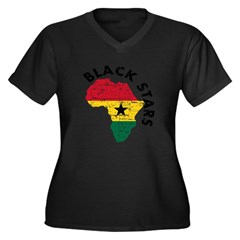 Ghana Black stars Women's Plus Size V-Neck Dark T-Shirt