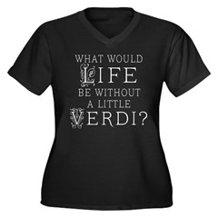 Verdi Music Quote Women's Plus Size V-Neck Dark T-Shirt