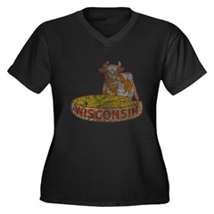 Wisconsin Cow and Cheese Women's Plus Size V-Neck Dark T-Shirt