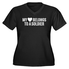 My Heart Belongs To A Soldier Women's Plus Size V-Neck Dark T-Shirt