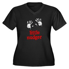 Little Nudger Women's Plus Size V-Neck Dark T-Shirt