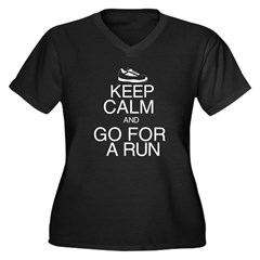 Keep Calm and Go For a Run Women's Plus Size V-Neck Dark T-Shirt