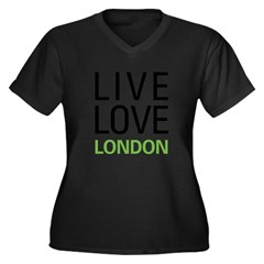 Live Love London Women's Plus Size V-Neck Dark T-Shirt