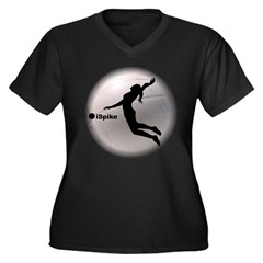 ispike Volleyball Women's Plus Size V-Neck Dark T-Shirt