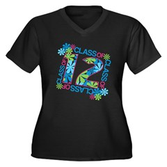 Class 2012 Blossoms Women's Plus Size V-Neck Dark T-Shirt