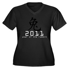 2011 Chinese New Year of The Rabbi Women's Plus Size V-Neck Dark T-Shirt