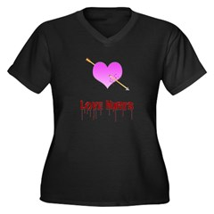 Love Hurts Women's Plus Size V-Neck Dark T-Shirt