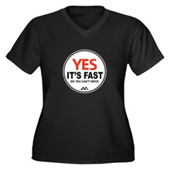 Yes It's Fas Women's Plus Size V-Neck Dark T-Shirt