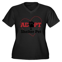 Adopt a Shelter Pet Womens PlusSz Scoop Neck Shirt Women's Plus Size V-Neck Dark T-Shirt