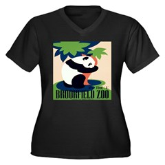 WPA Panda Zoo Women's Plus Size V-Neck Dark T-Shirt