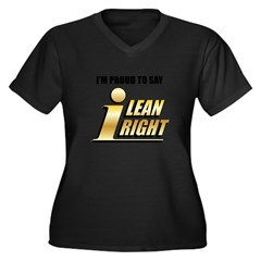 I Lean Right 19 Women's Plus Size V-Neck Dark T-Shirt