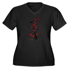 Black and Red Flowers Women's Plus Size V-Neck Dark T-Shirt