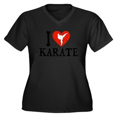 I Heart Karate - Girl Women's Plus Size V-Neck Dark T-Shirt