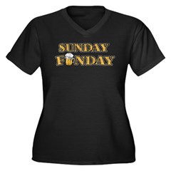 Vintage Sunday Funday Women's Plus Size V-Neck Dark T-Shirt