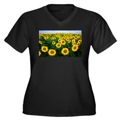 Sunflowers in field Women's Plus Size V-Neck Dark T-Shirt