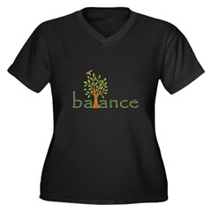 Balance Women's Plus Size V-Neck Dark T-Shirt