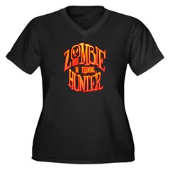 Zombie Hunter In Training Women's Plus Size V-Neck Dark T-Shirt