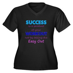 No Easy Out Women's Plus Size V-Neck Dark T-Shirt