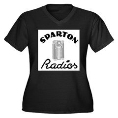 Sparton Radios Women's Plus Size V-Neck Dark T-Shirt