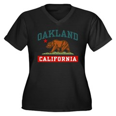 Oakland California Women's Plus Size V-Neck Dark T-Shirt