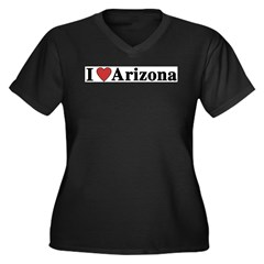 I Love Arizona Women's Plus Size V-Neck Dark T-Shirt