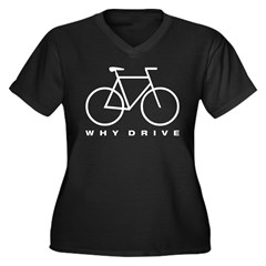 Why Drive, white Women's Plus Size V-Neck Dark T-Shirt