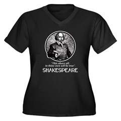 Shakespeare Women's Plus Size V-Neck Dark T-Shirt