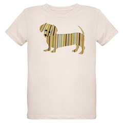 Striped Dachshund Puppy Organic Kids T-Shirt