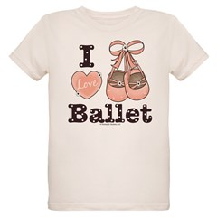 I Love Ballet Shoes Pink Brown Infant Onesie Organic Kids T-Shirt