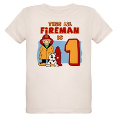 Fireman First Birthday Organic Kids T-Shirt