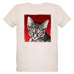 Pencil Tabby Red Background Organic Kids T-Shirt