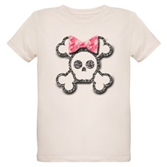 Girl Skull and Crossbones Pink Bow Organic Kids T-Shirt