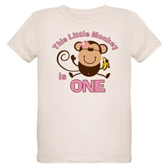 Little Monkey 1st Birthday Girl Organic Kids T-Shirt