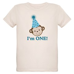 First Birthday Cute Monkey Organic Kids T-Shirt
