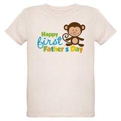 Boy Monkey Happy 1st Fathers Day Organic Kids T-Shirt
