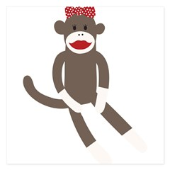 Polka Dot Sock Monkey 5.25 x 5.25 Flat Cards